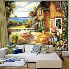 europe country oil canvas painting wall murals sofa background papier peint mural