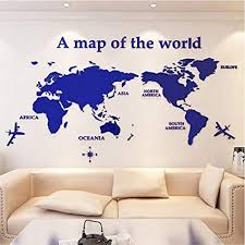 office wall stickers. ASdf Wall Decorations World Map Acrylic 3D Stickers Living Room Sofa  Background Sticker Office Office Wall Stickers -