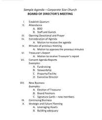 Example Of Meeting Agenda First Board Meeting Agenda Template