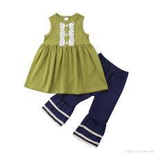 New Fashion Baby Dress Designs Kid Baby Girls Lace Green Top Navy Bellbottoms 2pcs Set Oufit Sleeveless Summer Baby Girls Clothing Toddler Fashion Boutique Costume