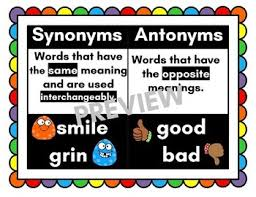 Synonyms Antonyms Anchor Chart