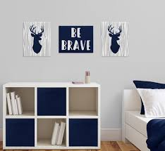 navy blue grey and white stag wall art