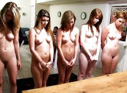 Naked embarrassed women gym