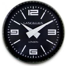 square black glass wall clock 35cm