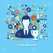 good employee concept design on blue background clean vector good employee concept design on blue background clean vector stock vector 49124483