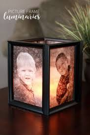 easy and inexpensive tutorial to make these picture frame luminaries perfect handmade gift idea for grandpas or centerpieces for your holiday tables