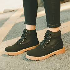 cootelili fashion ankle boots for women autumn winter patchwork rubber shoes women lace up suede