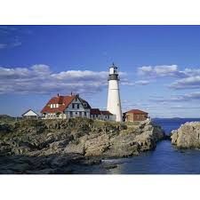 Portland Head Lighthouse On Rocky Coast At Cape Elizabeth Maine New England Usa Print Wall Art By Rainford Roy
