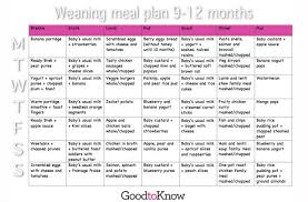10 Month Baby Food Chart Baby Food Meal Planner 9 12 Months