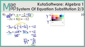 Square root hands on activities. Kutasoftware Algebra 1 System Of Equations Substitution Part 1 Youtube