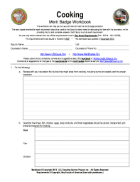 Cooking Merit Badge Cooking Merit Badge Workbook Fill Online Printable Fillable