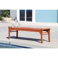 eucalyptus backless wood patio bench