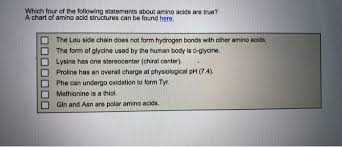 Lysine Chart Solved Which Four Of The Following Statements About Amino