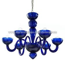 redentore 6 lights murano chandelier blue color