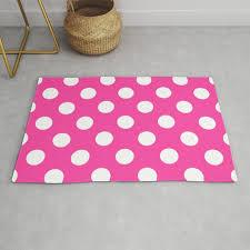 wild strawberry pink white polka dots pois pattern rug