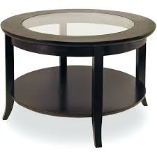 round wood coffee table with glass top in dark espresso oval metal legs