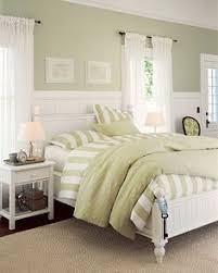 green bedroom furniture idea. good idea for a smaller room - white panelling on lower half and green top bedroom furniture