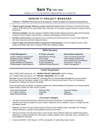 Sample Resume For It Project Manager Position Archives