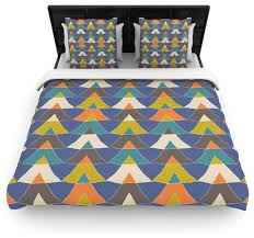 julia grifol colorful triangles blue multicolor cotton duvet cover