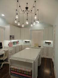 edison chandelier home office traditional with built in desk craft room desk drawer storage