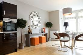 minimalist console table right in the kitchen