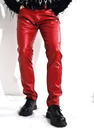 red leather jeans loading zoom