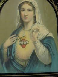 sacred heart of mary black and white displaying 16