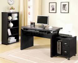 Black Computer Desk For Home Made Of Wooden Materials