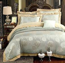 gold and silver bedding gold silver beige luxury silk jacquard bedding set queen king size duvet cover set embroidery bed sheet linen pillowcases duvet