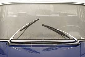window with wipers of vine car