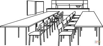 Klaslokaal Met Tafels En Stoelen Kleurplaat Gratis Kleurplaten Printen