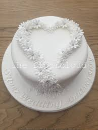 Gorgeous Silver Wedding Anniversary Cake Decorated With Simple White