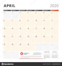 April 2020 Template Calendar Planner For April 2020 Stationery Design Template