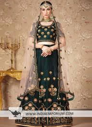 Wedding Designer Wedding Designer Dark Green Mulberry Embroidery Wedding Lehenga