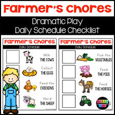 Farmers Chores Checklist For Dramatic Play By Turner Tots Tpt