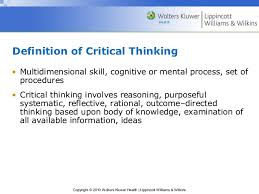 how critical thinking applied to the nursing process