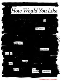 free newspaper blackout poem valentine