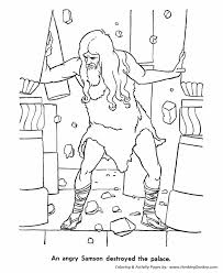 Small Picture Bible Story characters Coloring Page Sheets Samson pulled the