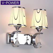 v power silver crystal led creative lighting aisle stairs high quality modern simple bedroom bedside wall lamp 1065 double head send warm led light source