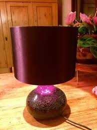 next helena mirror mosaic glass table lamp plum purple