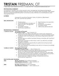 Occupational Therapy Resume New Grad