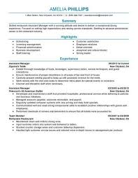 Assistant Manager Restaurant Resume Professional Resume Templates