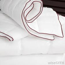 a crimson tipped duvet without a duvet cover