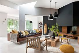 light brown leather couch Living Room Contemporary with arc lamp black  accent. Image by: Ml-h design