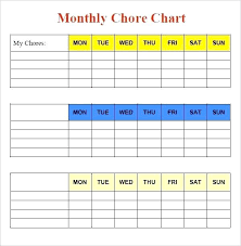 Weekly Chore List Template House Chore Schedule Template Monthly Chore Chart Template