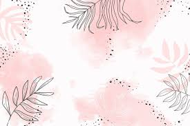 Pink leafy watercolor background vector ...