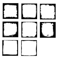 8 Square Grunge Frame PSD PNG Transparent OnlyGFXcom