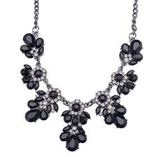 <b>trendy elegant black</b> collar necklace resin flower <b>crystal stylish</b> ...