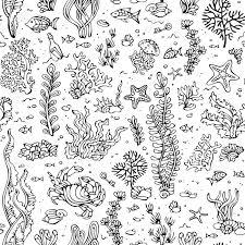 海の生活のシームレスな夏のパターンベクトルの漫画には図が記載されていますシェル藻魚ヒトデ