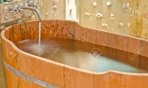 Wooden Bathtub Wooden Bathtub In Barrel Shape Western Style Stock Photo Picture